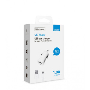 Зарядка автомобильная для телефона Apple iPhone 5 (1A - MFI - White) - Deppa | Фото 2