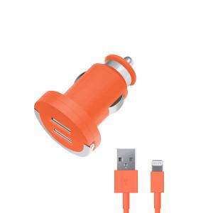 Зарядка автомобильная для телефона Apple iPhone 6 Plus (2 USB - 2.1A - MFI - Orange) - Deppa | Фото 1