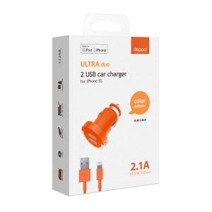 Зарядка автомобильная для планшета Apple iPad mini 4 (2 USB - 2.1A - MFI - Orange) - Deppa | Фото 2