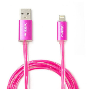 Дата-кабель для телефона Apple iPhone XS (2.4A - Розовый с подсветкой) - Auzer | Фото 1