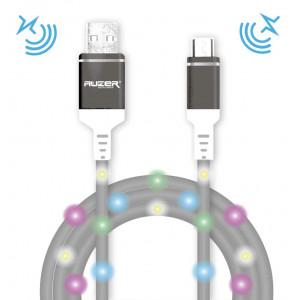 Дата-кабель для телефона Apple iPhone 5 (2A - Grey с подсветкой и микрофоном) - Auzer | Фото 1