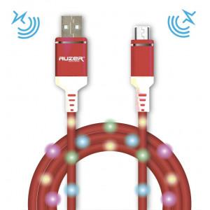 Дата-кабель для телефона Apple iPhone XS Max (2A - Pink с подсветкой и микрофоном) - Auzer | Фото 1