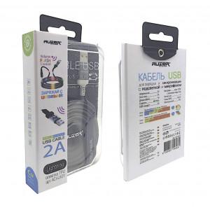 Дата-кабель USB для Apple (Lightning 8pin) - 2A - White с подсветкой и микрофоном - Auzer | Фото 2
