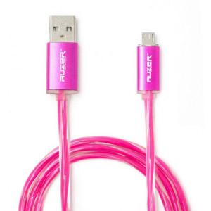 Дата-кабель USB - Micro USB (Розовый с подсветкой) - Auzer | Фото 1