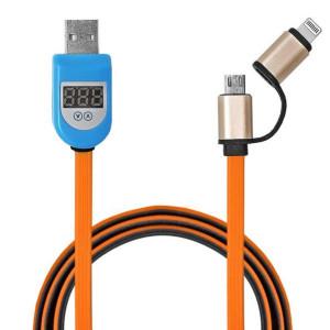 Дата-кабель USB - Micro USB, Lightning 8-pin (с амперметром, оранжевый) - Auzer | Фото 1
