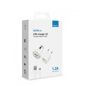 Комплект зарядных устройств для Apple (lightning) 1А - White - Deppa | Фото 2
