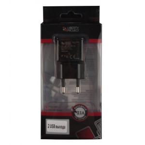 Сетевая зарядка универсальная с 2-мя USB выходами (2.1A) Black - LP | Фото 2