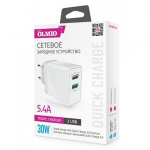 Сетевая зарядка универсальная с 2-мя USB выходами (5.4A) Quick Charge 3.0 White - Olmio | Фото 2
