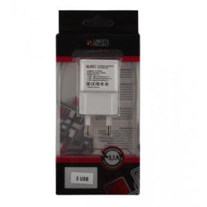 Сетевая зарядка универсальная с 3-мя USB выходами (3.1A) White - LP | Фото 2
