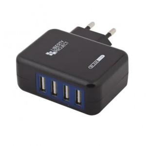 Сетевая зарядка универсальная с 4-мя USB выходами (3.1A) Black - LP | Фото 1