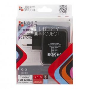 Сетевая зарядка универсальная с 4-мя USB выходами (3.1A) Black - LP | Фото 2