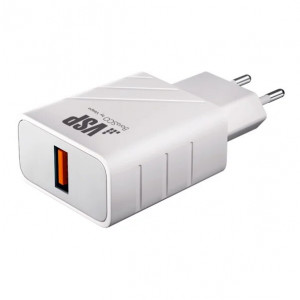 Сетевая зарядка универсальная с USB выходом (3A) Quick Charge 3.0 White - BoraSCO | Фото 1