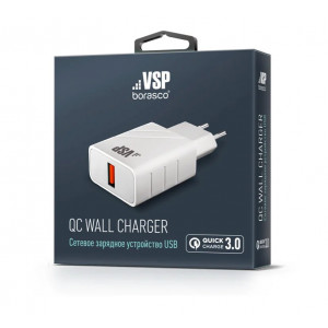 Сетевая зарядка универсальная с USB выходом (3A) Quick Charge 3.0 White - BoraSCO | Фото 2