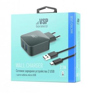 Сетевое зарядное устройство Micro USB - 2.1A - Black - BoraSCO | Фото 2