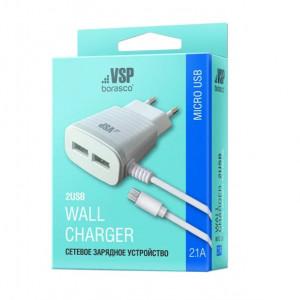 Сетевое зарядное устройство Micro USB - 2.1A - White - BoraSCO | Фото 2