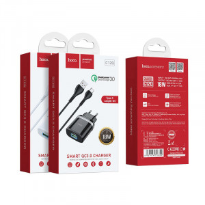Сетевое зарядное устройство Type C  - HOCO Smart QC3.0 Charger (Quick Charge 3.0) Черное | Фото 2