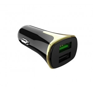 Универсальная автомобильная зарядка HOCO Z31 с 2-мя USB выходами (QC 3.0) Black | Фото 2