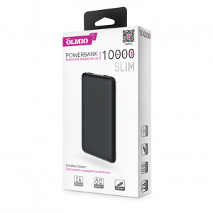 Универсальное зарядное устройство - Внешний аккумулятор Olmio Slim 10000 мАч черный | Фото 3
