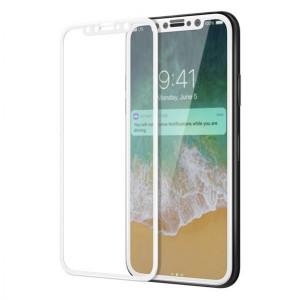 Защитное стекло для телефона Apple iPhone X (0.3 мм - Full Glue - White) - Auzer | Фото 1