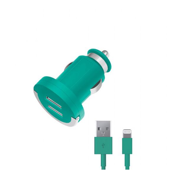 Зарядка автомобильная для телефона Apple iPhone 6S (2 USB - 2.1A - MFI - Green) - Deppa | Фото 1