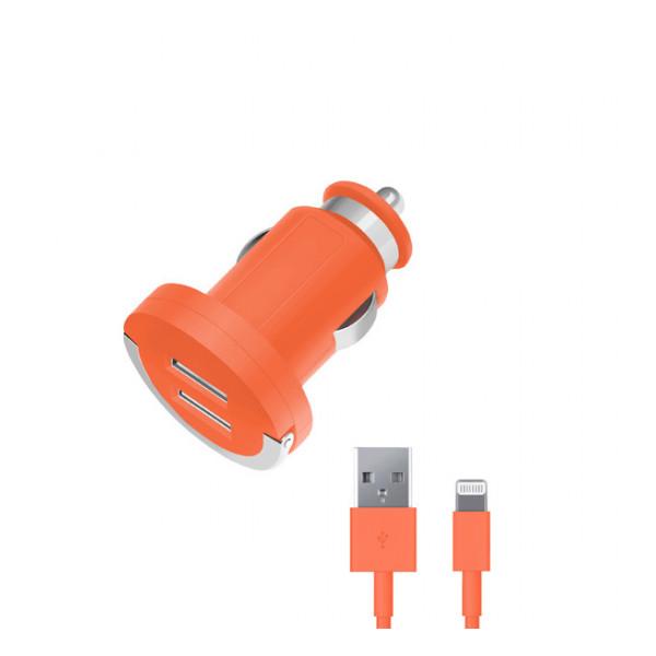 Автомобильное зарядное устройство для Apple с 2мя USB выходами (Lightning MFI) - 2.1A - Orange - Deppa | Фото 1