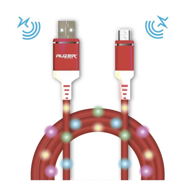 Дата-кабель USB для Apple (Lightning 8pin) - 2A - Pink с подсветкой и микрофоном - Auzer | Фото 1