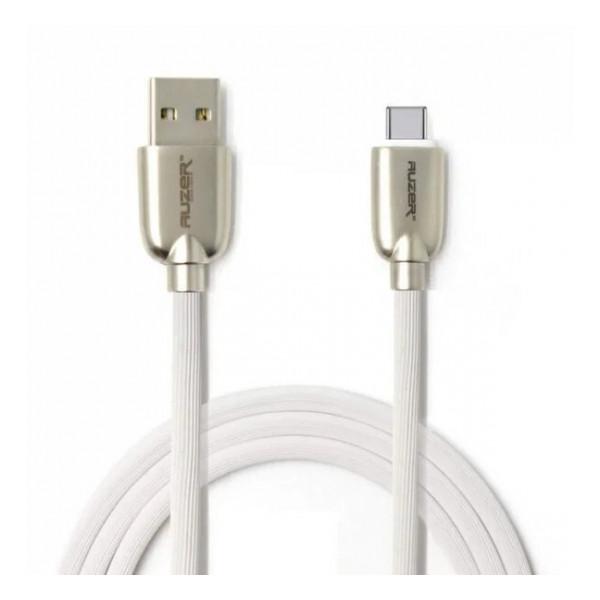 Дата-кабель USB - Type C (с текстурной оплеткой, белый) - Auzer | Фото 1