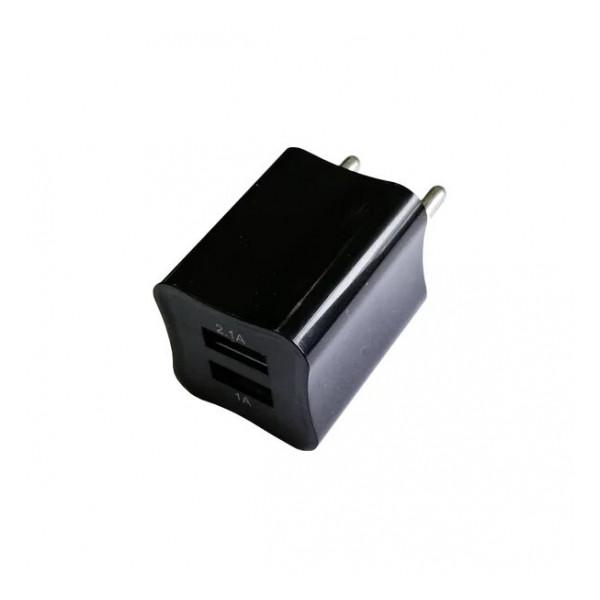 Сетевая зарядка универсальная с 2-мя USB выходами (2A) Black - Auzer   Фото 1