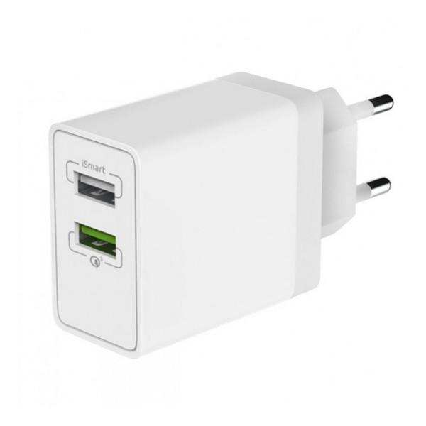 Сетевая зарядка универсальная с 2-мя USB выходами (5.4A) Quick Charge 3.0 White - Olmio | Фото 1