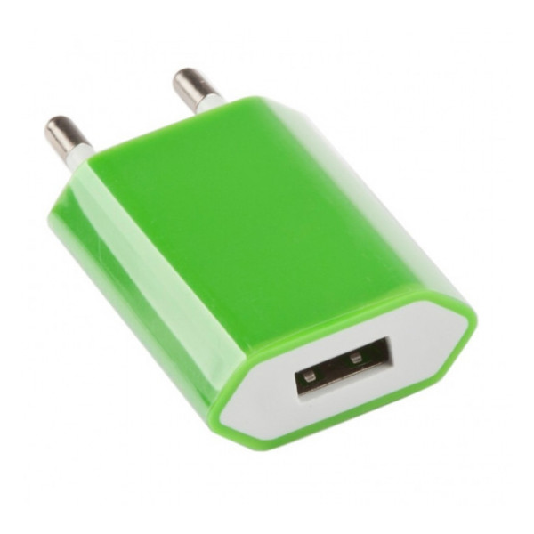 Сетевая зарядка универсальная с USB выходом (1A) Green - LP | Фото 1