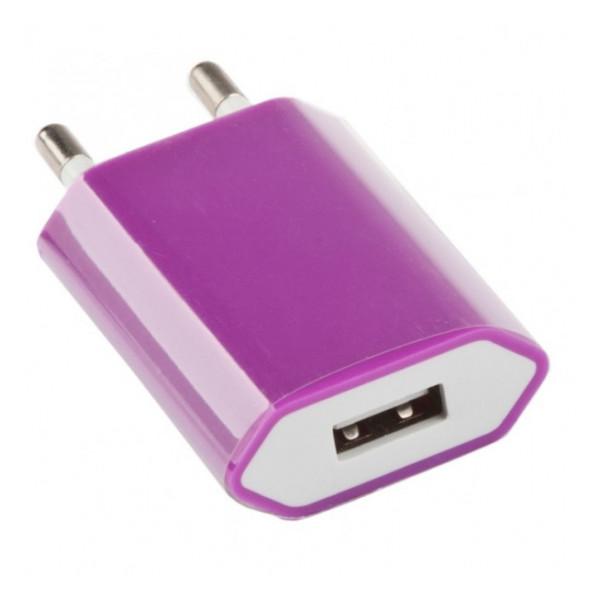Сетевая зарядка универсальная с USB выходом (1A) Violet - LP | Фото 1