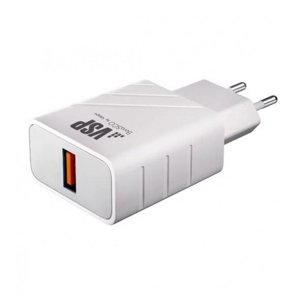 Сетевая зарядка универсальная с USB выходом (3A) Quick Charge 3.0 White - BoraSCO   Фото 1